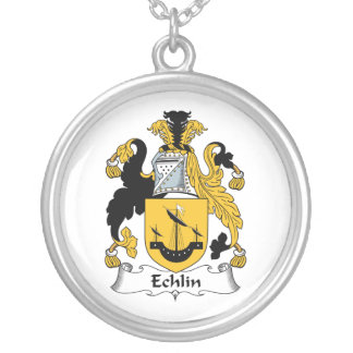 Echlin Family Crest Round Pendant Necklace