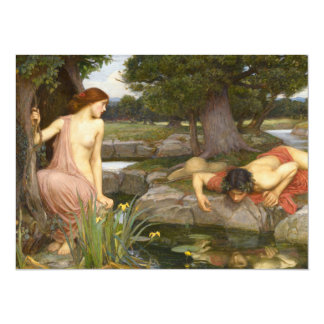 Echo and Narcissus by John William Waterhouse 5.5x7.5 Paper Invitation Card
