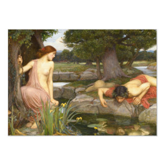 Echo and Narcissus by John William Waterhouse 5x7 Paper Invitation Card
