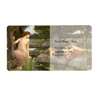 Echo and Narcissus by John William Waterhouse Personalized Shipping Label