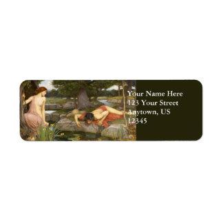 Echo and Narcissus by John William Waterhouse Custom Return Address Label