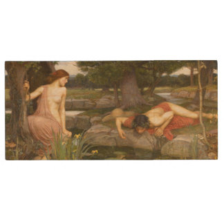 Echo and Narcissus by John William Waterhouse Wood USB 2.0 Flash Drive
