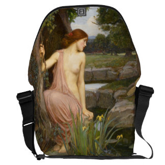 Echo and Narcissus by John William Waterhouse Messenger Bag