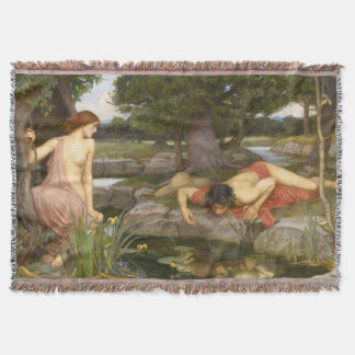 Echo and Narcissus by John William Waterhouse Throw Blanket