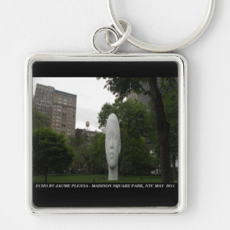 ECHO, by Jaume Plensa, Madison Square Park Silver-Colored Square Keychain