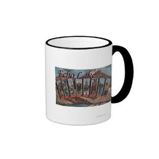 Echo Lake, Colorado - Large Letter Scenes Ringer Coffee Mug