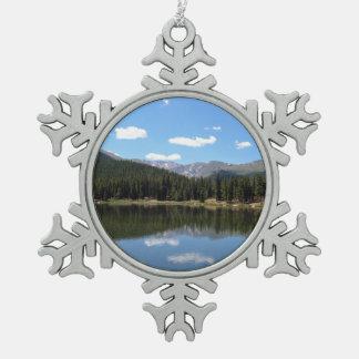 Echo Lake Mt Evans Colorado Snowflake Pewter Christmas Ornament