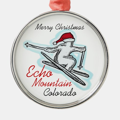 Echo Mountain Colorado santa skier hat ornament