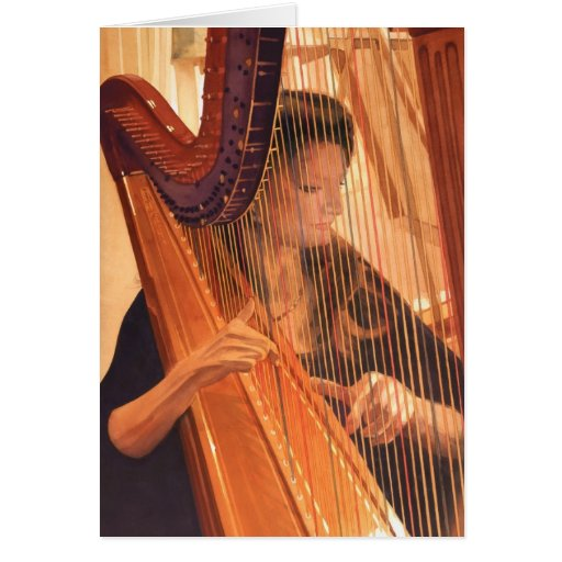 """""""Echo of Angels"""" Harp Player Watercolor Greeting Card"""