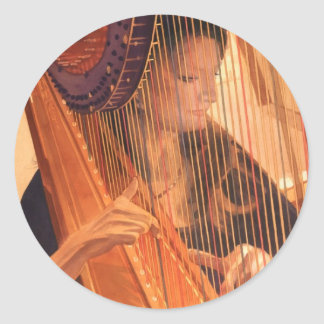"""""""Echo of Angels"""" Harp Player Watercolor Classic Round Sticker"""