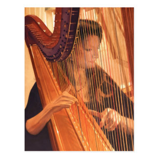 """Echo of Angels"" Harp Player Watercolor Postcard"