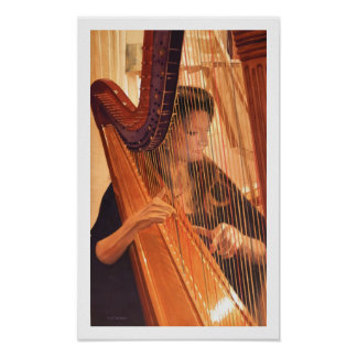 """Echo of Angels"" Harp Player Watercolor Posters"