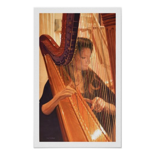 """""""Echo of Angels"""" Harp Player Watercolor Poster"""