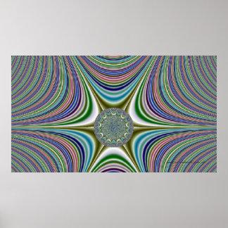 """Echo Of the Medallion"" - Striped Fractal Design Poster"