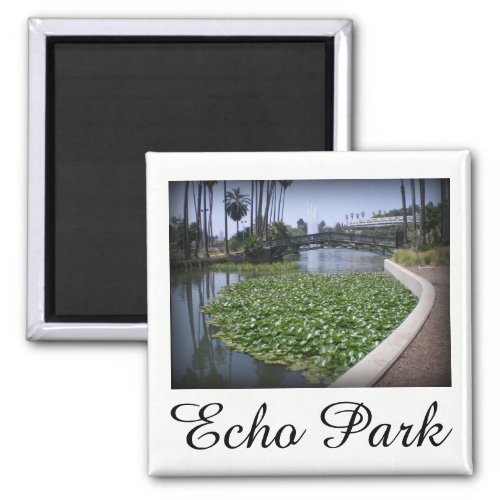 Echo Park Lake in Los Angeles, California 2-inch Square Magnet