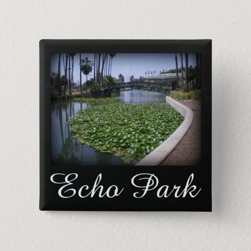 Echo Park Lake in Los Angeles, California 2-inch Square Button
