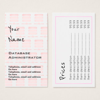 """""""Echoes"""" Database Administrator Price Cards"""