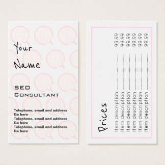"""""""Echoes"""" SEO Consultant Price Cards"""