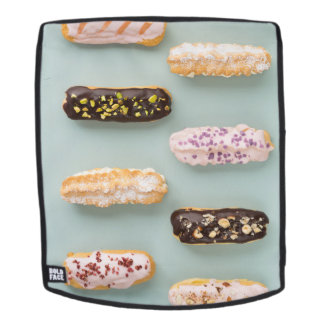 Eclairs with ganache and toppings backpack