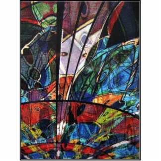 Eclectic faux stain glass effect abstract art cutout
