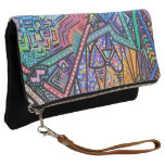 Eclectic Foldable Art Adorned Clutch