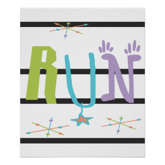 Eclectic RUN Poster - Runner Themed Gift