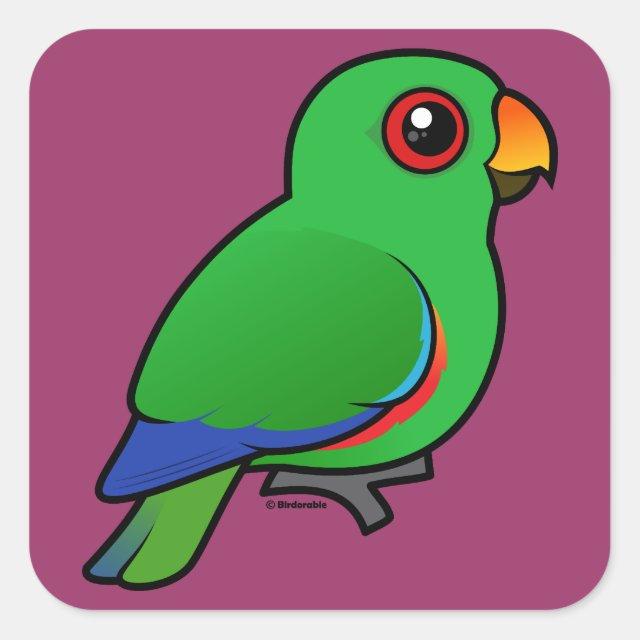 Cute Customizable Male Eclectus Parrot Square Sticker