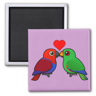 Eclectus Parrots in Love 2 Inch Square Magnet