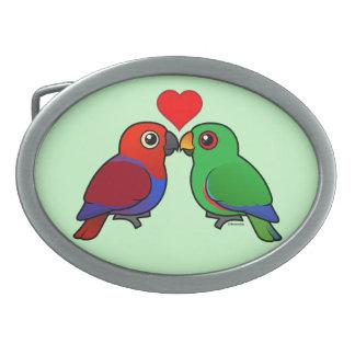 Eclectus Parrots in Love Oval Belt Buckles