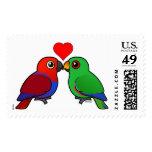Eclectus Parrots in Love Postage