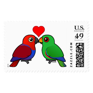 Eclectus Parrots in Love Postage