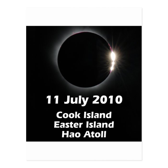 Eclipse 2010 - Easter Is., Cook Is., Hao Atoll Postcard