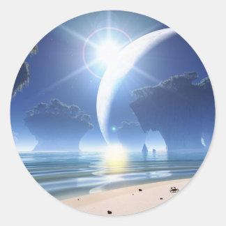Eclipse at Strange Beach Classic Round Sticker