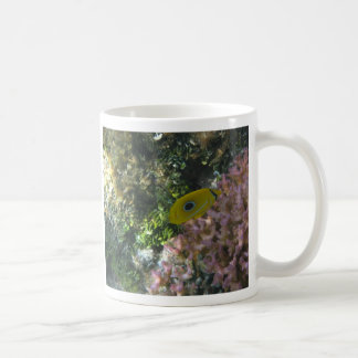 Eclipse Butterfly Fish Swimming By Coral Coffee Mug