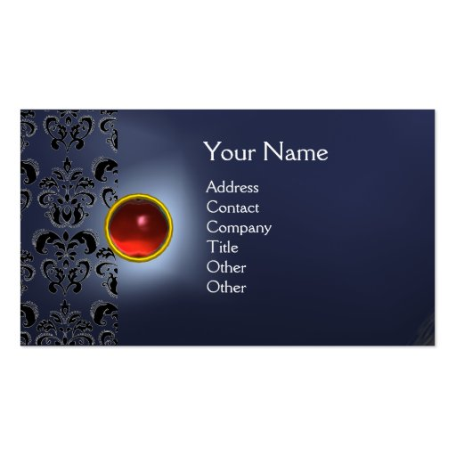 ECLIPSE DAMASK GEM  MONOGRAM Double-Sided STANDARD BUSINESS CARDS (Pack OF 100)