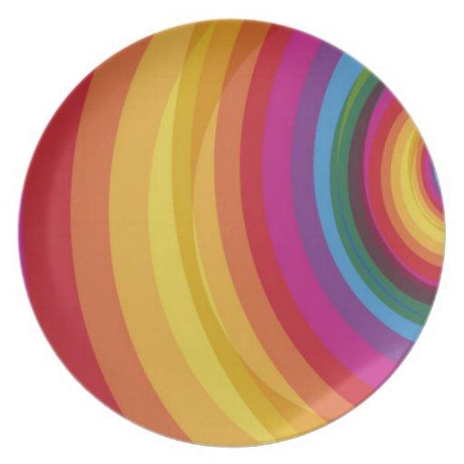 Eclipse del arco iris plato de cena