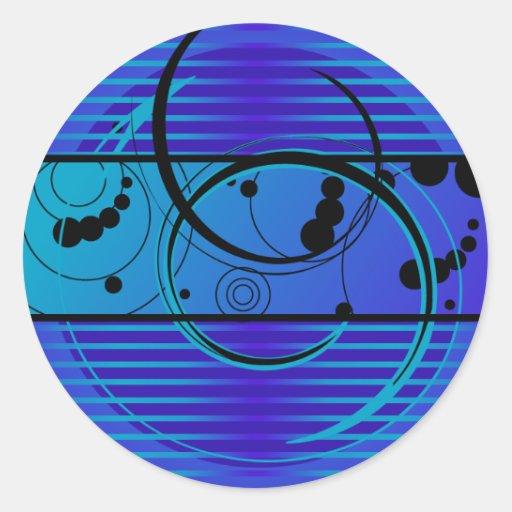 Eclipse del azul de Abstact Pegatina Redonda