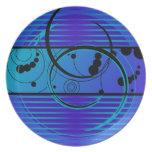 Eclipse del azul de Abstact Plato De Comida