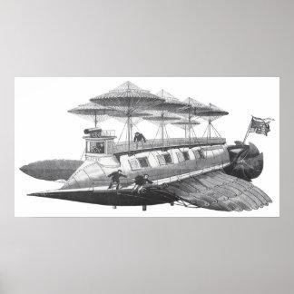Eclipse del dirigible de Steampunk de la ciencia Posters
