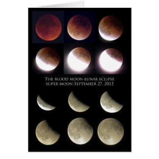 Eclipse lunar domingo 27 de septiembre de 2015 tarjeta de felicitación