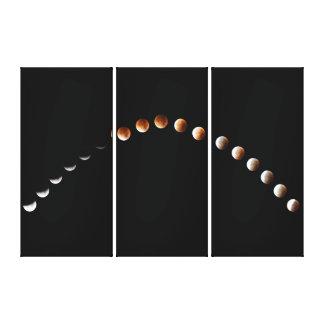 Eclipse lunar elegante - tríptico de la secuencia impresion de lienzo