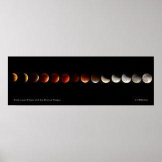 Eclipse lunar total con la luna en el perigeo póster
