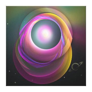 Eclipse lunar, wallart abstracto de la fantasía lona envuelta para galerias