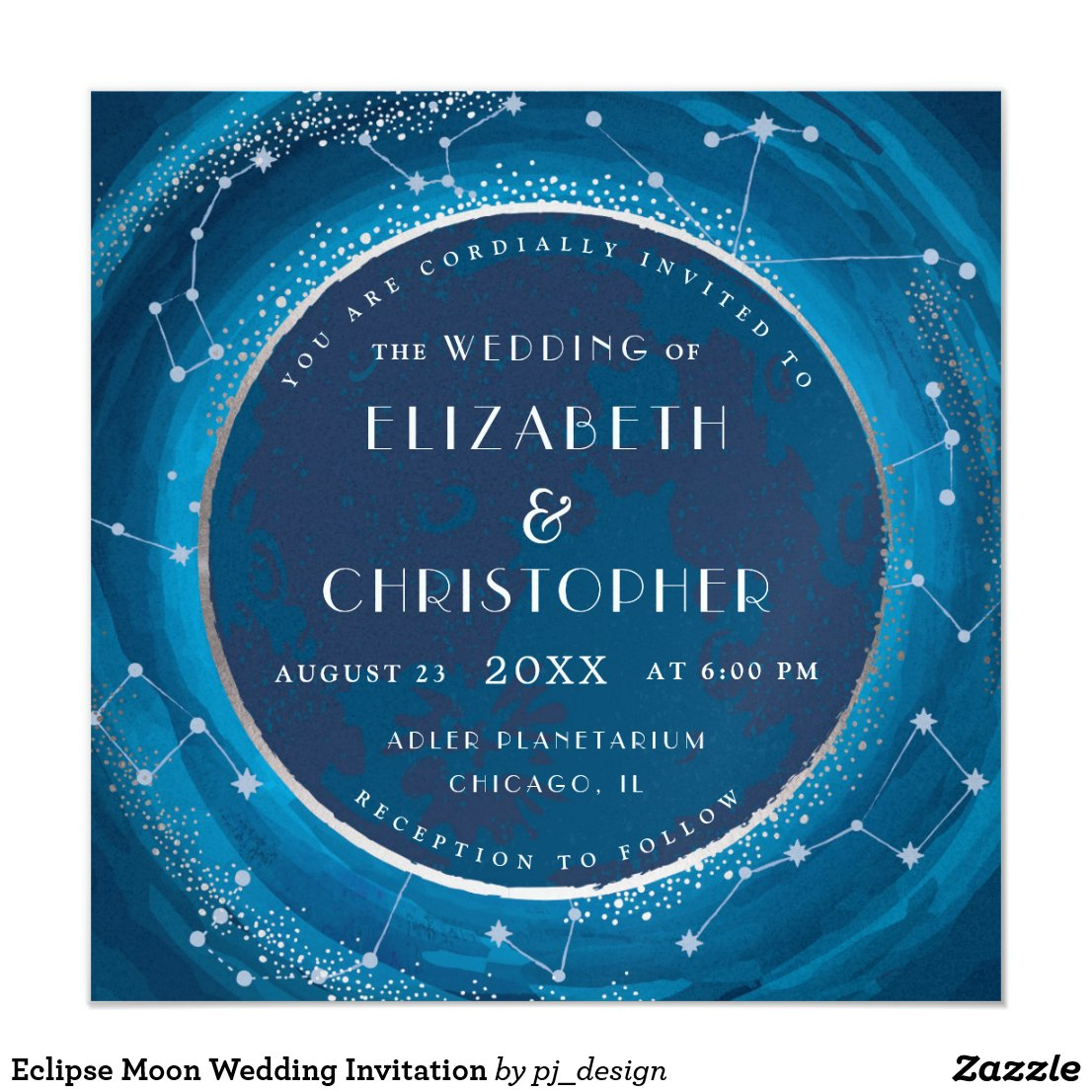 Eclipse Moon and Stars Wedding Invitation