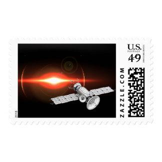 Eclipse Orb Satellite Orbiting Space Stamp