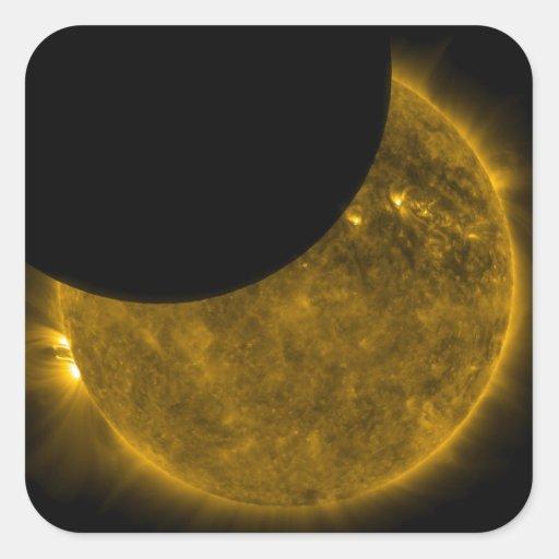 Eclipse parcial del Sun Pegatina Cuadradas Personalizada