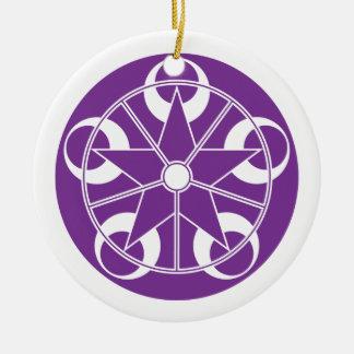 Eclipse-Purple Crop Circle Ceramic Ornament