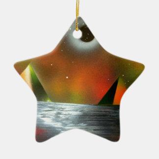 Eclipse sobre las pirámides adorno de cerámica en forma de estrella