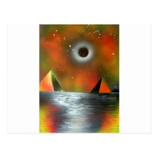 Eclipse sobre las pirámides postal