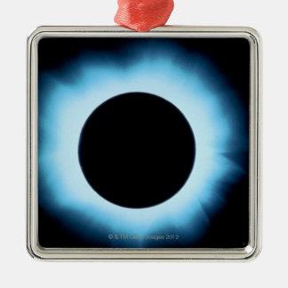 Eclipse solar 2 adorno cuadrado plateado